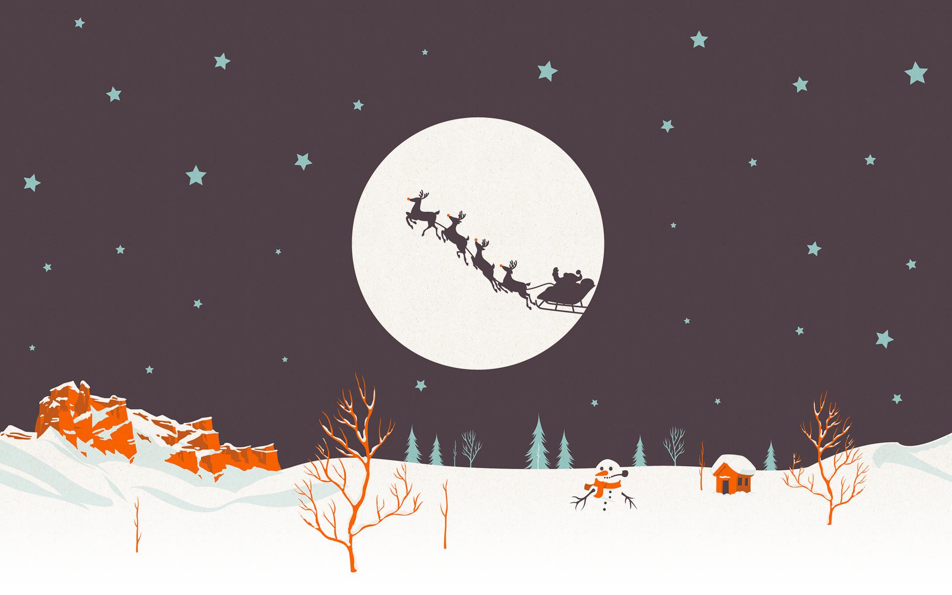 Noche de navidad dibujo - 1920x1200