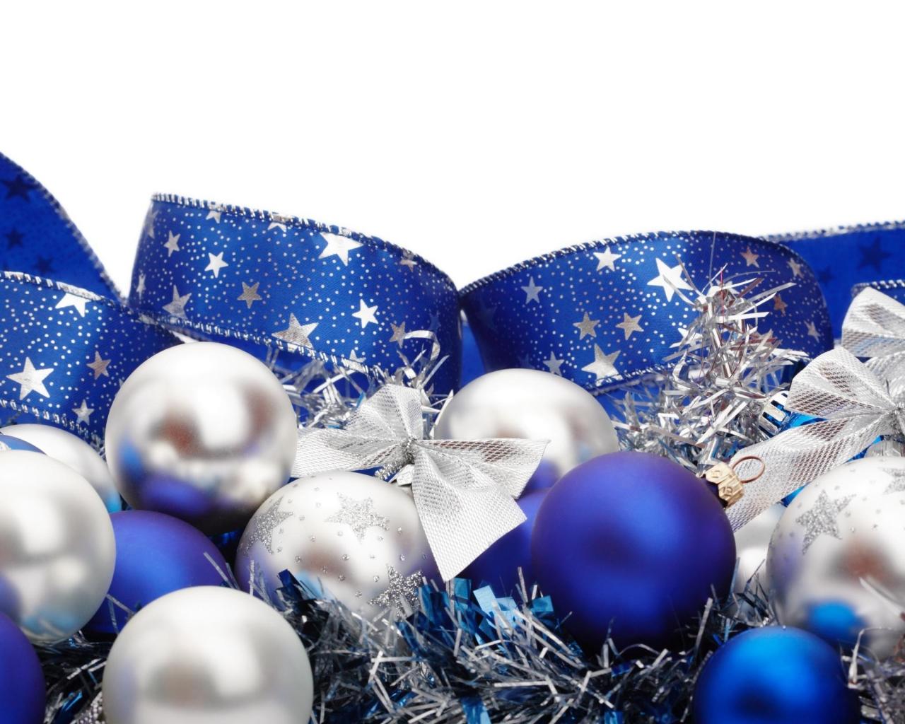 Adornos azules para navidad - 1280x1024