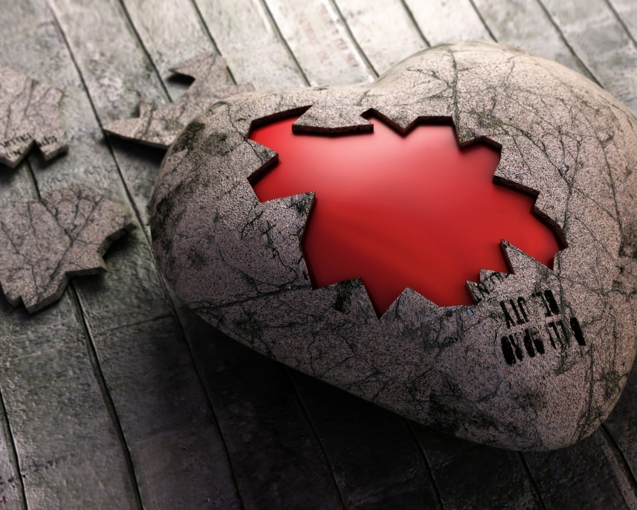 Un rompecabezas de corazón - 1280x1024