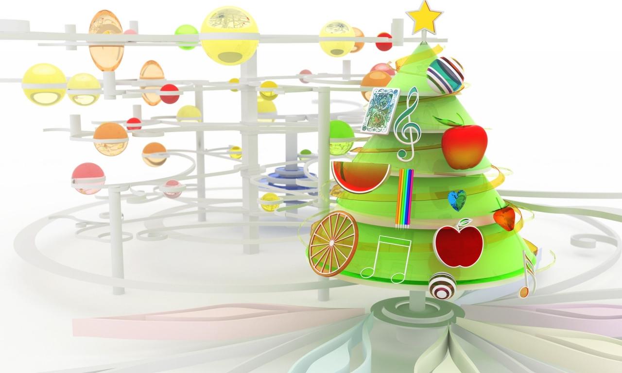 Arbol de navidad en 3D - 1280x768
