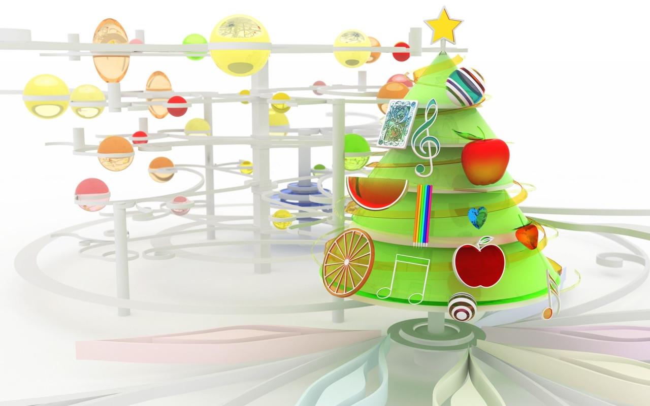 Arbol de navidad en 3D - 1280x800
