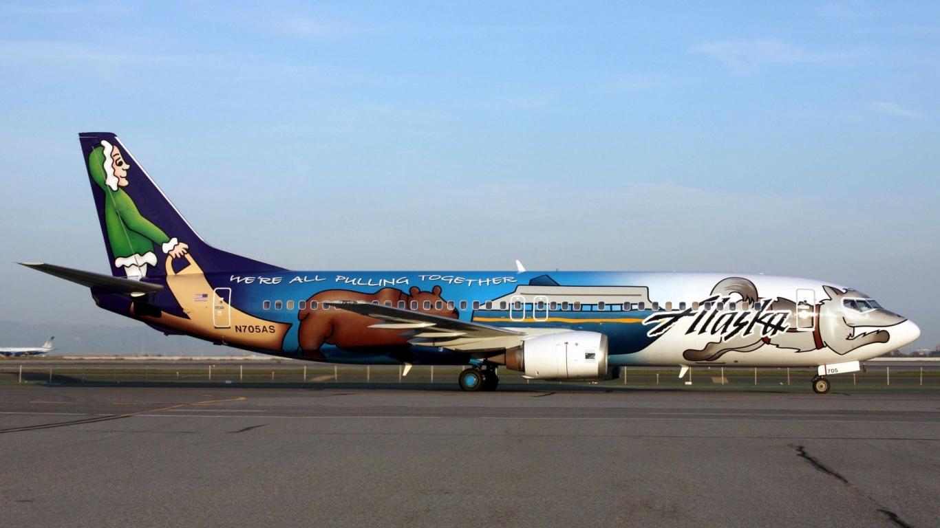 Avión comercial de Alaska - 1366x768