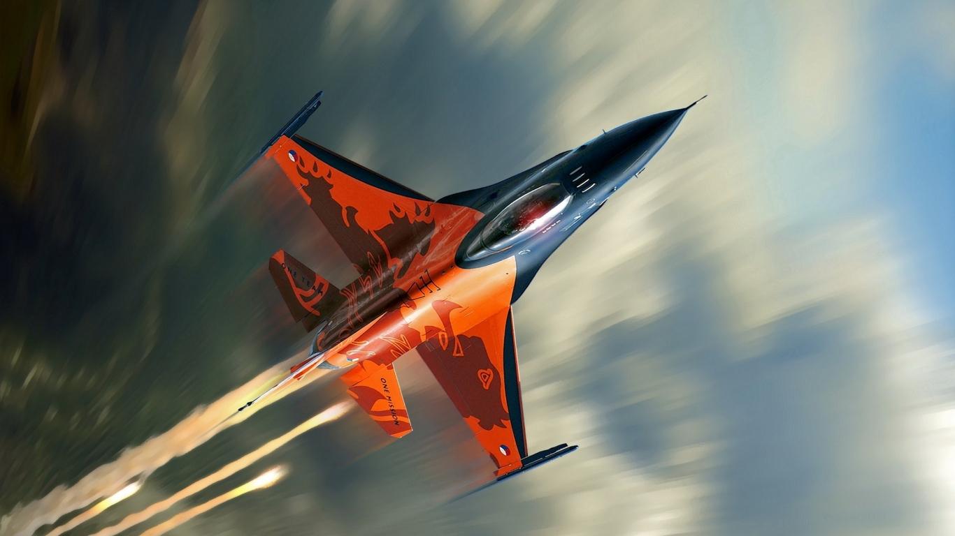 Avión F16 Falcon - 1366x768