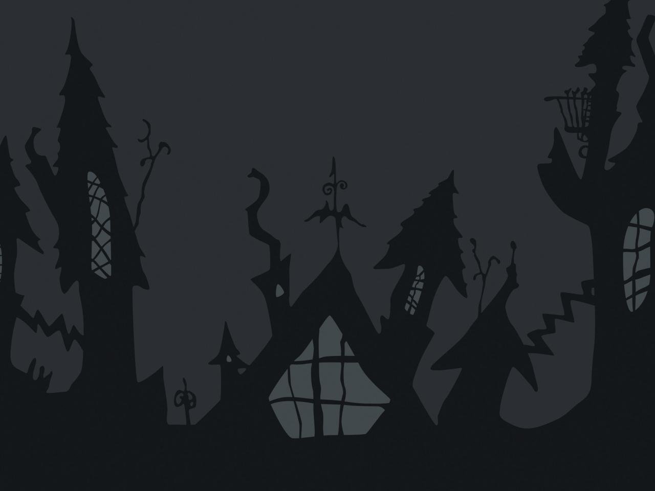 Castillo de noche de brujas - 1280x960
