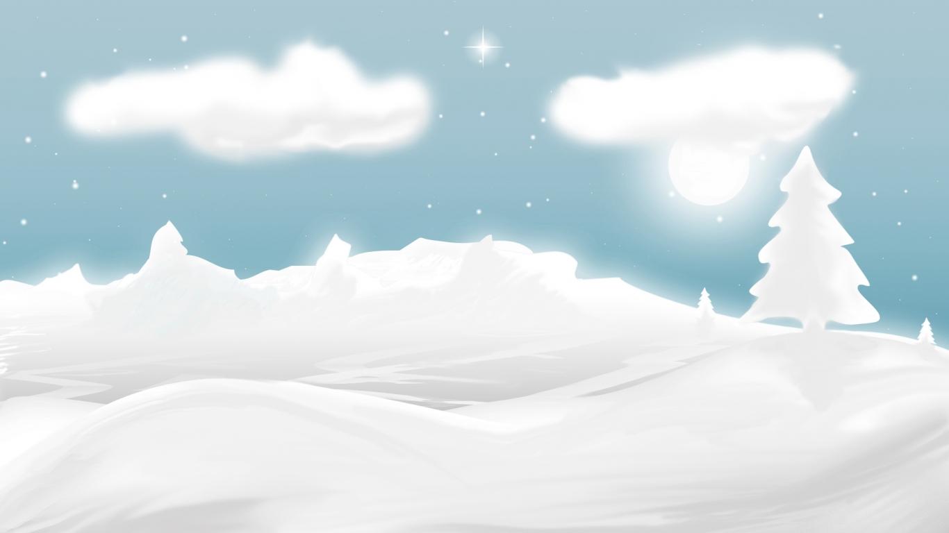 Dibujo de nieve y navidad - 1366x768