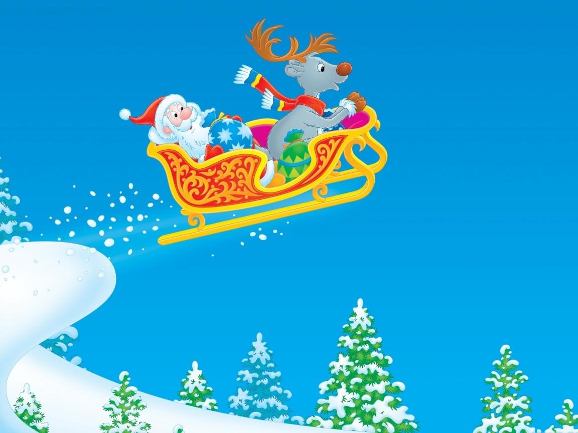 Dibujo de Santa Claus en trineo - 1152x864