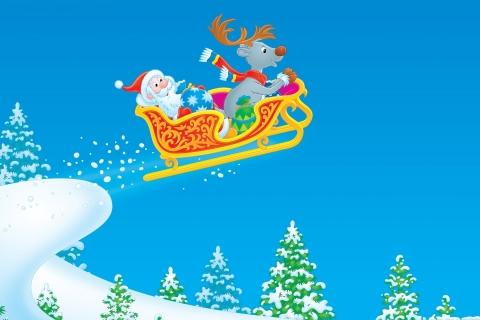 Dibujo de Santa Claus en trineo - 480x320