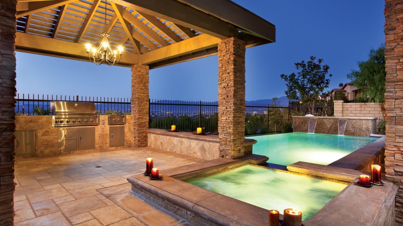 Diseño de una piscina - 1366x768
