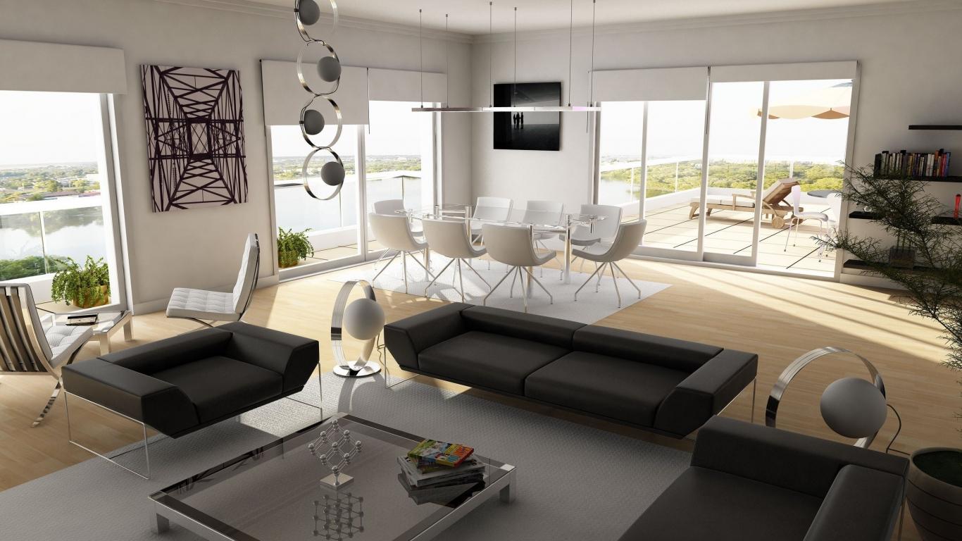Diseño interior de una casa de campo - 1366x768