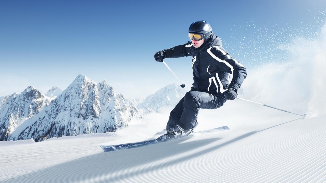 Esquiar en la nieve - 1366x768