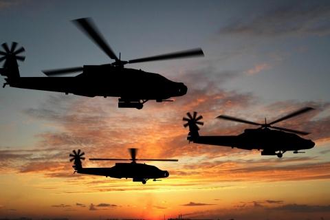 Helicópteros al atardecer - 480x320