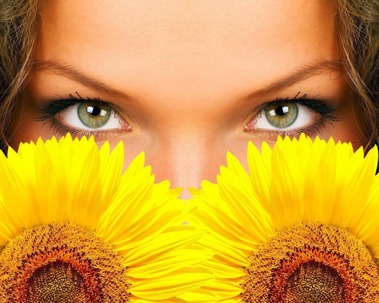 Hermosos ojos y girasoles - 1280x1024
