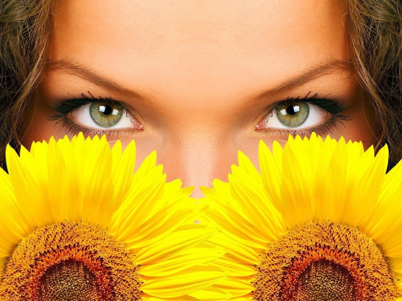 Hermosos ojos y girasoles - 1280x960