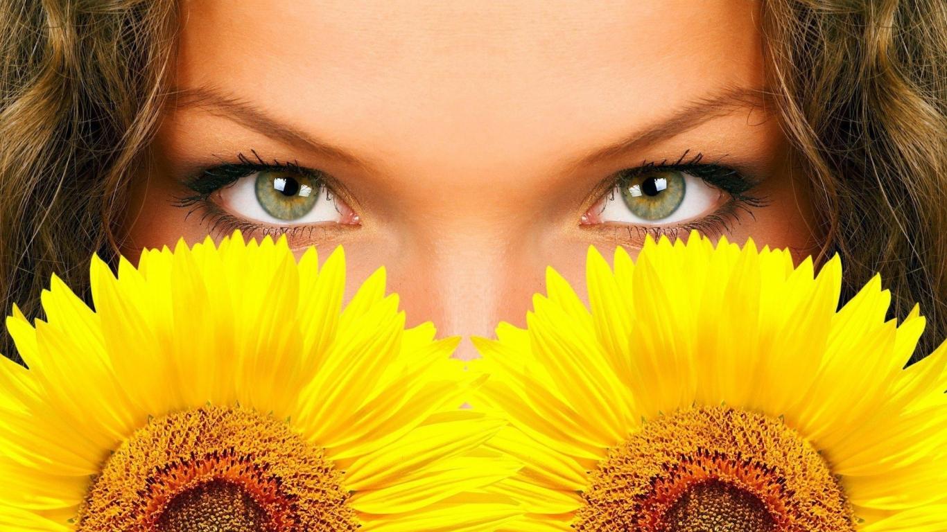 Hermosos ojos y girasoles - 1366x768