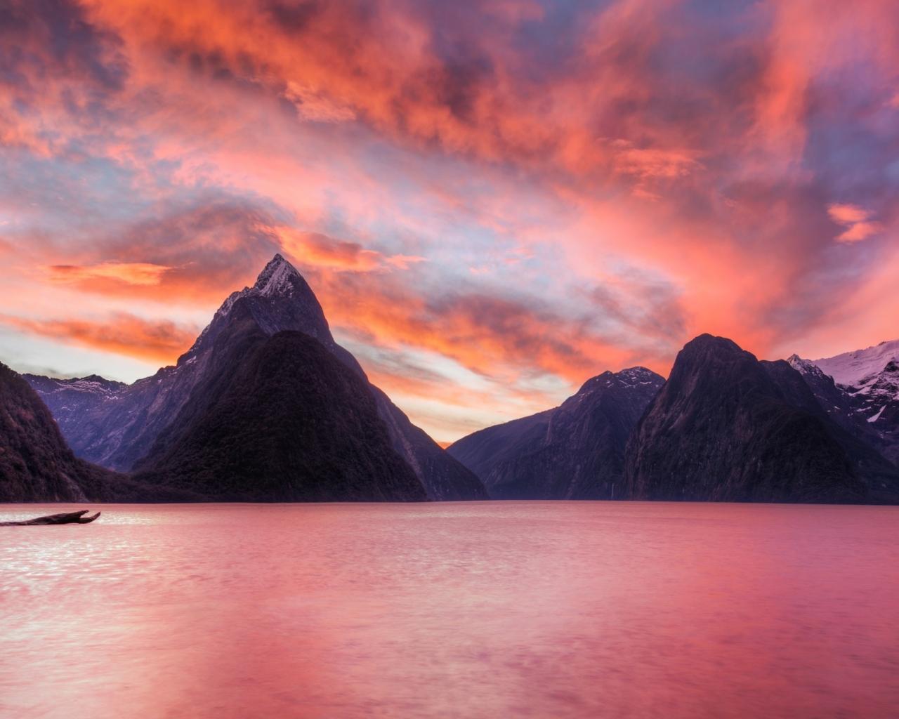 Lago de Nueva Zelanda - 1280x1024