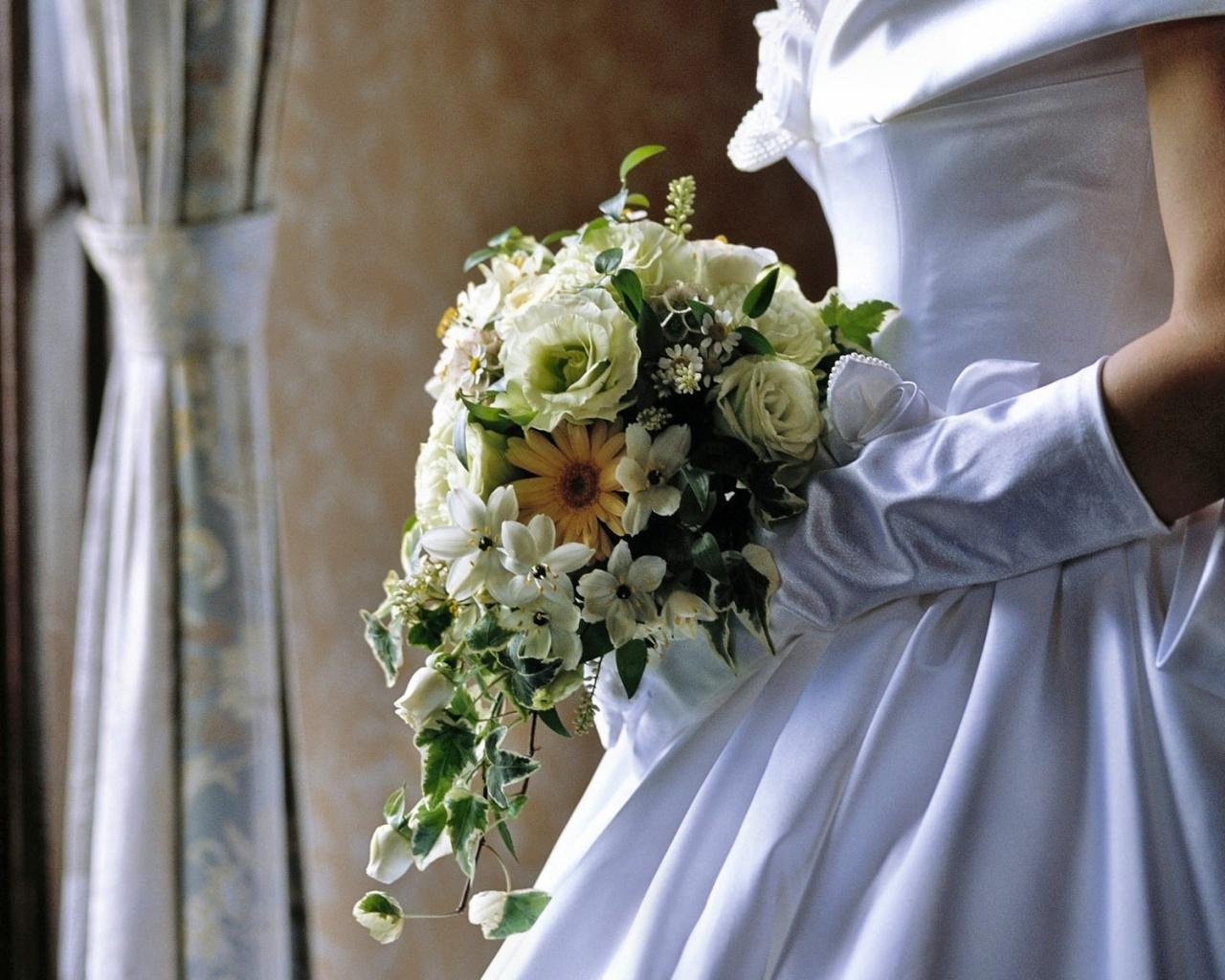 Las flores de una novia - 1280x1024