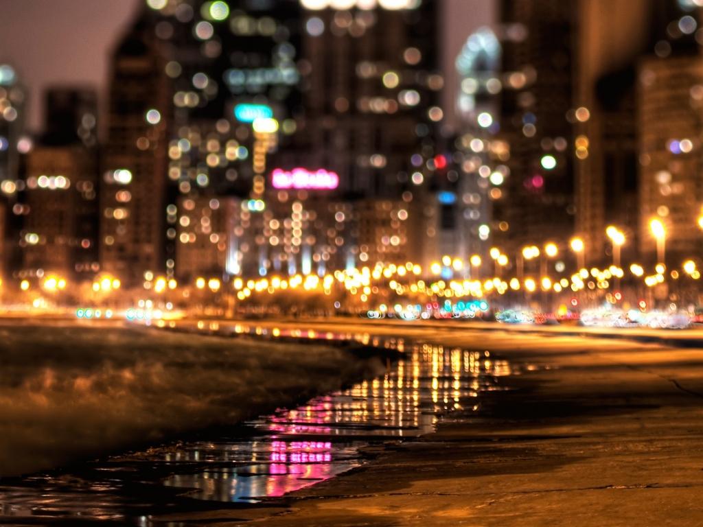 Luces en ciudad - 1024x768