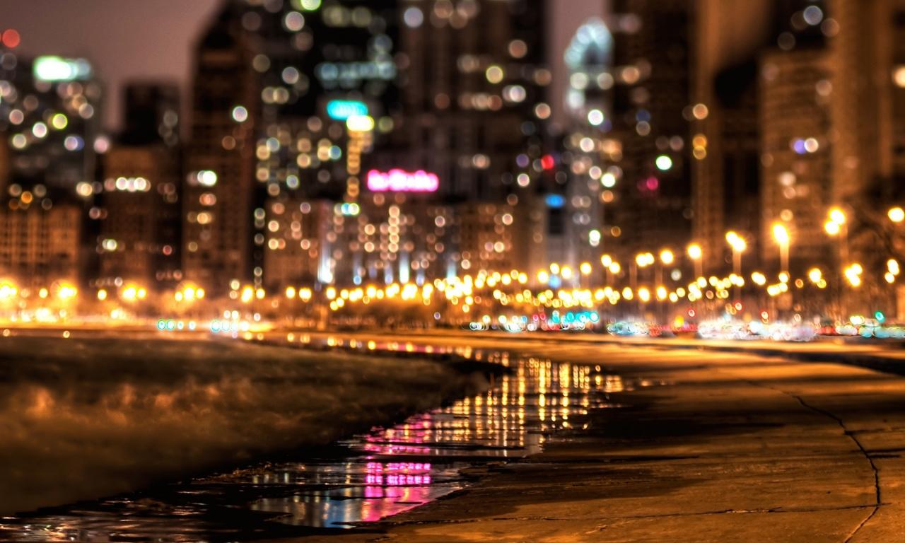 Luces en ciudad - 1280x768