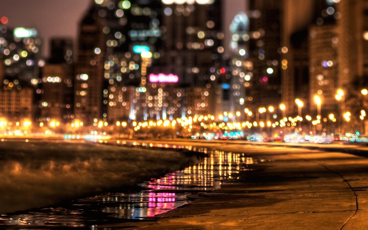 Luces en ciudad - 1280x800