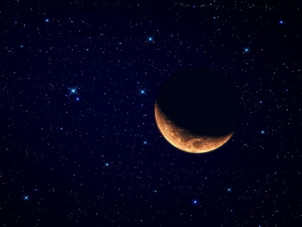 Luna y el cielo estrellado - 1024x768