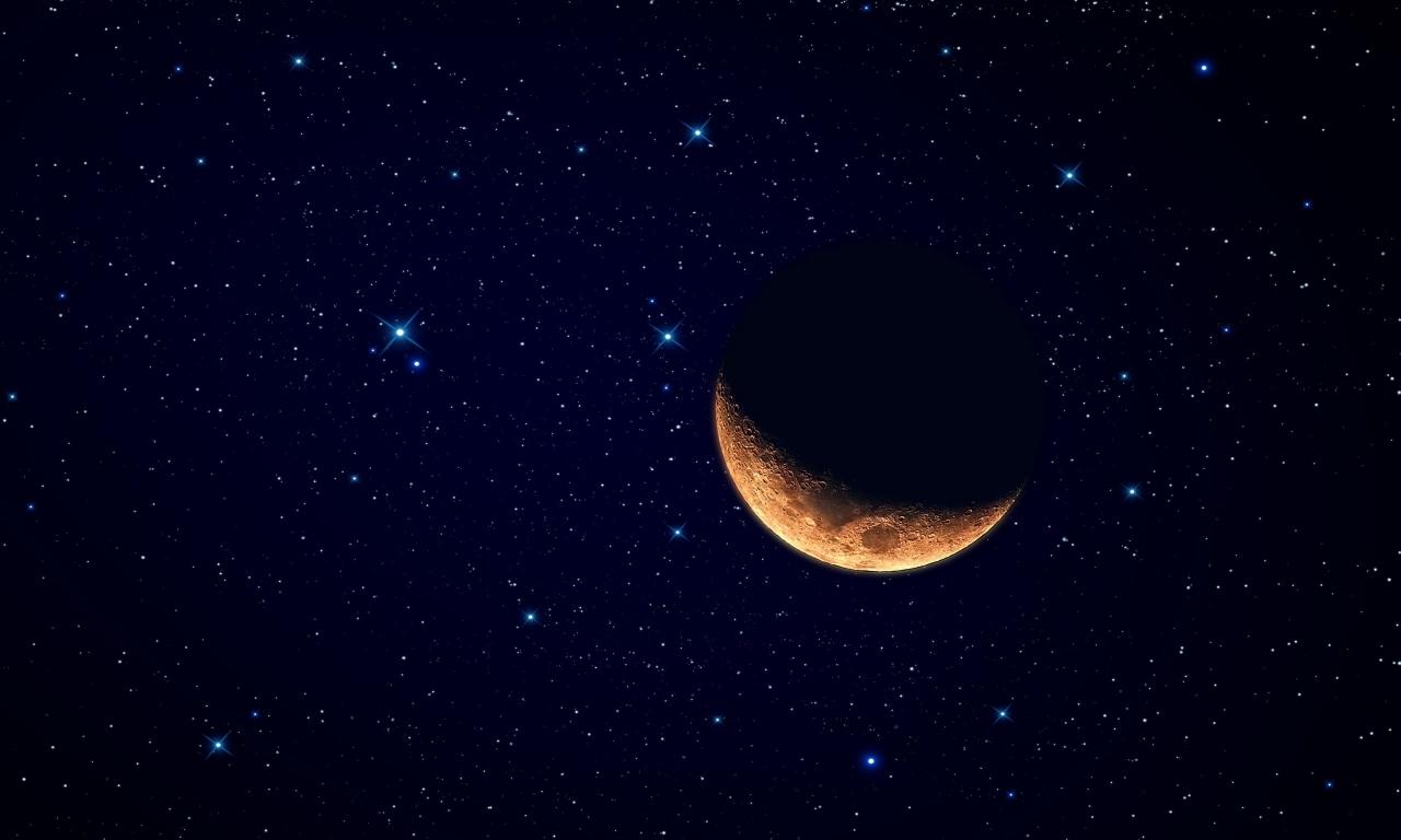 Luna y el cielo estrellado - 1280x768