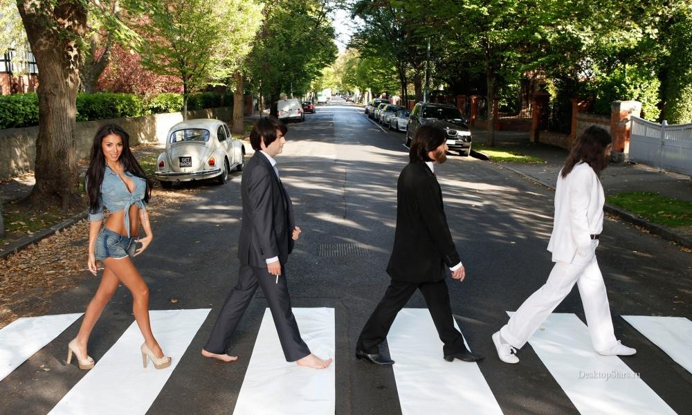 Parodia de Los Beatles en la pista - 1000x600