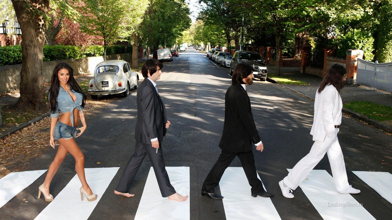 Parodia de Los Beatles en la pista - 1600x900