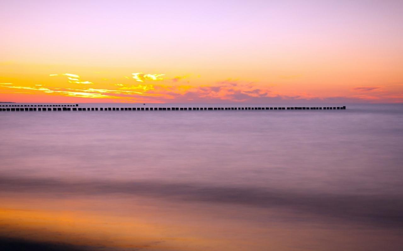 Puesta de sol en el mar - 1280x800
