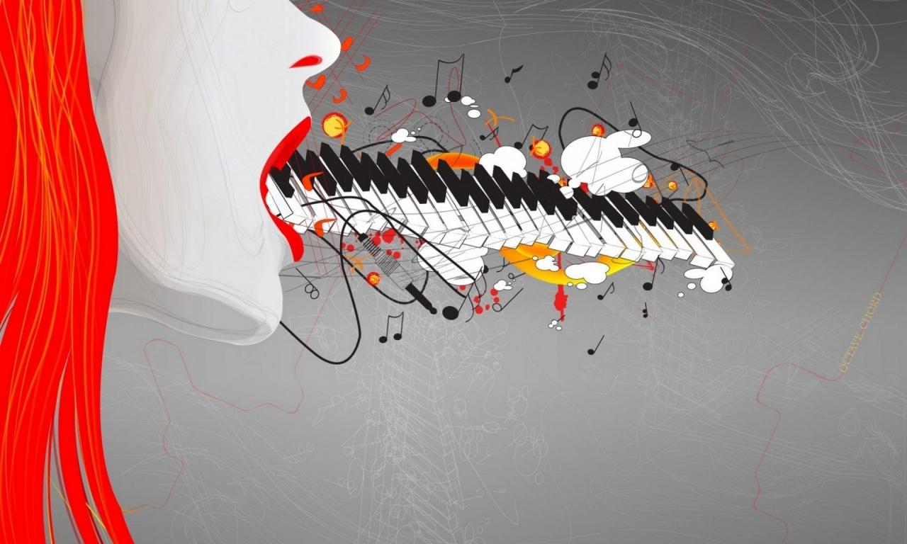 Teclado y música abstracto - 1280x768