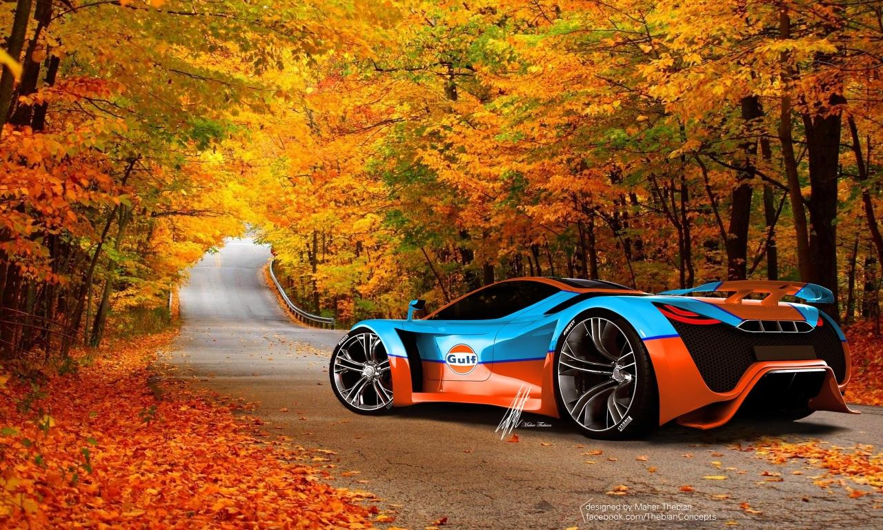 Un hermoso auto en otoño - 1280x768