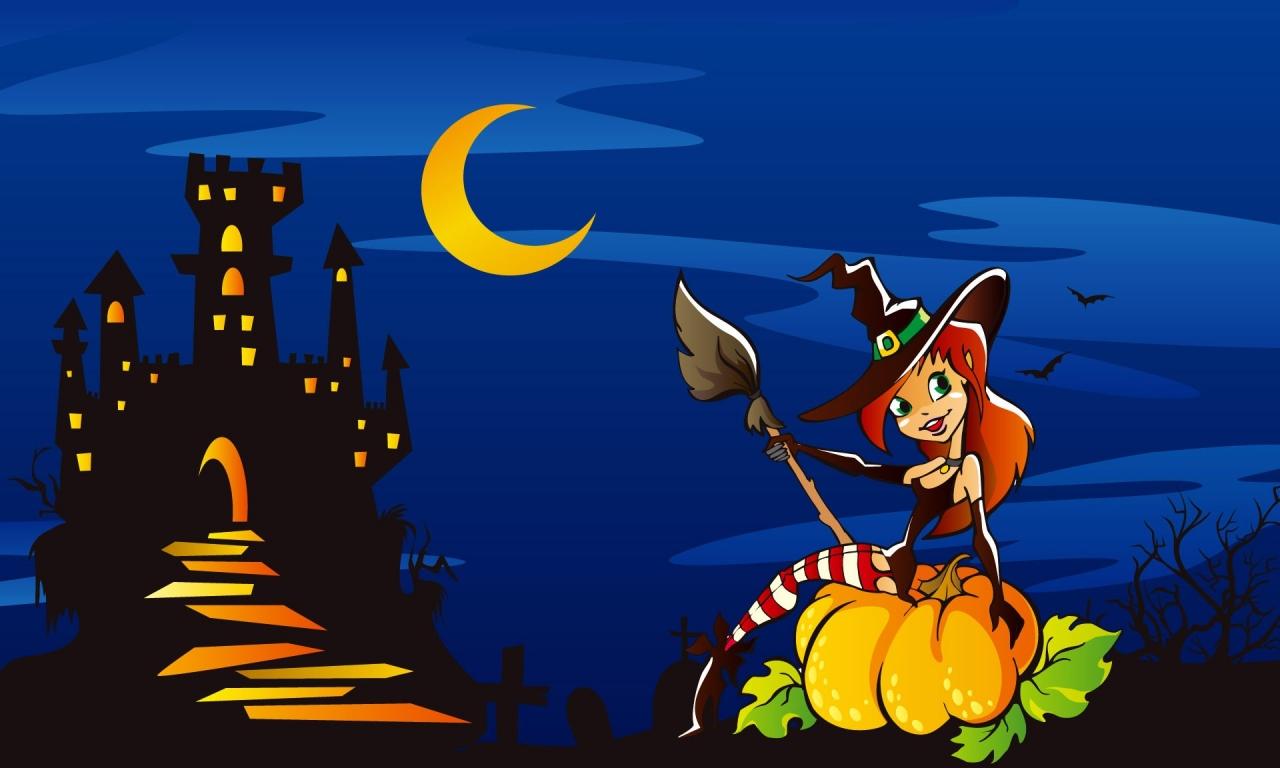 Una brujita en halloween - 1280x768