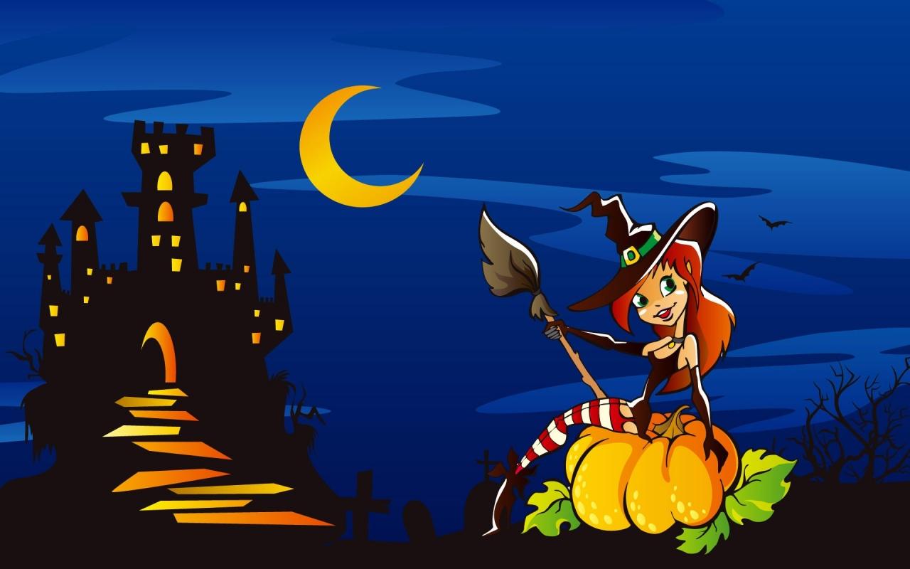 Una brujita en halloween - 1280x800