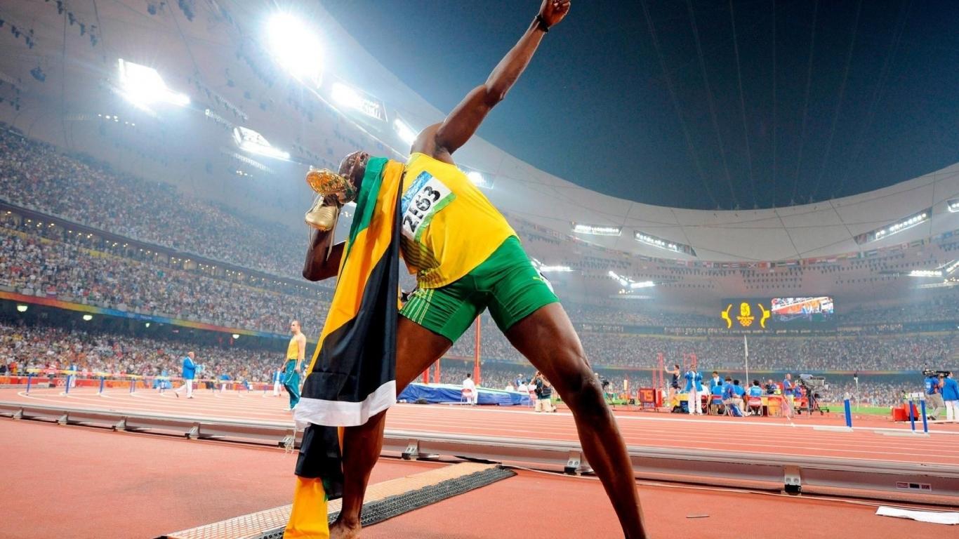 Usain Bolt en los juegos - 1366x768