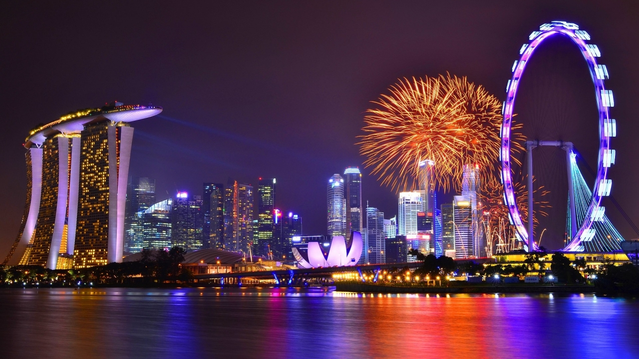 Vista de Singapore nocturna - 1280x720