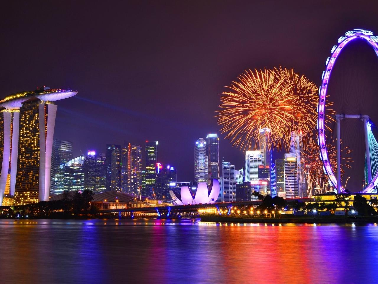 Vista de Singapore nocturna - 1280x960