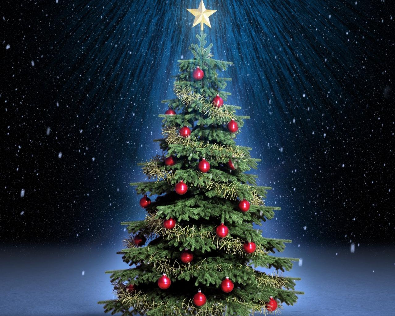 Arbol de navidad con fondo de estrellas - 1280x1024