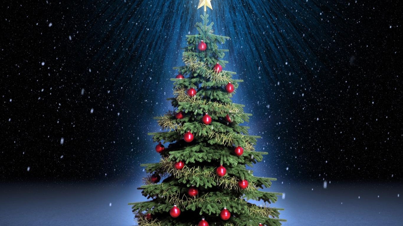 Arbol de navidad con fondo de estrellas - 1366x768