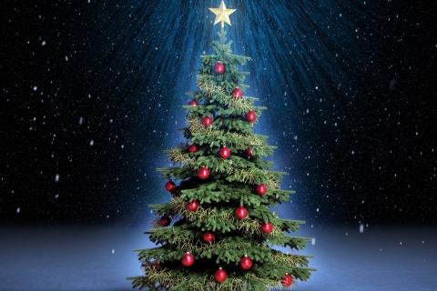 Arbol de navidad con fondo de estrellas - 480x320