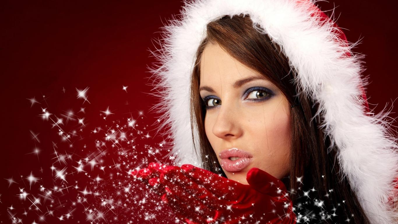 Bellas mujeres en navidad - 1366x768