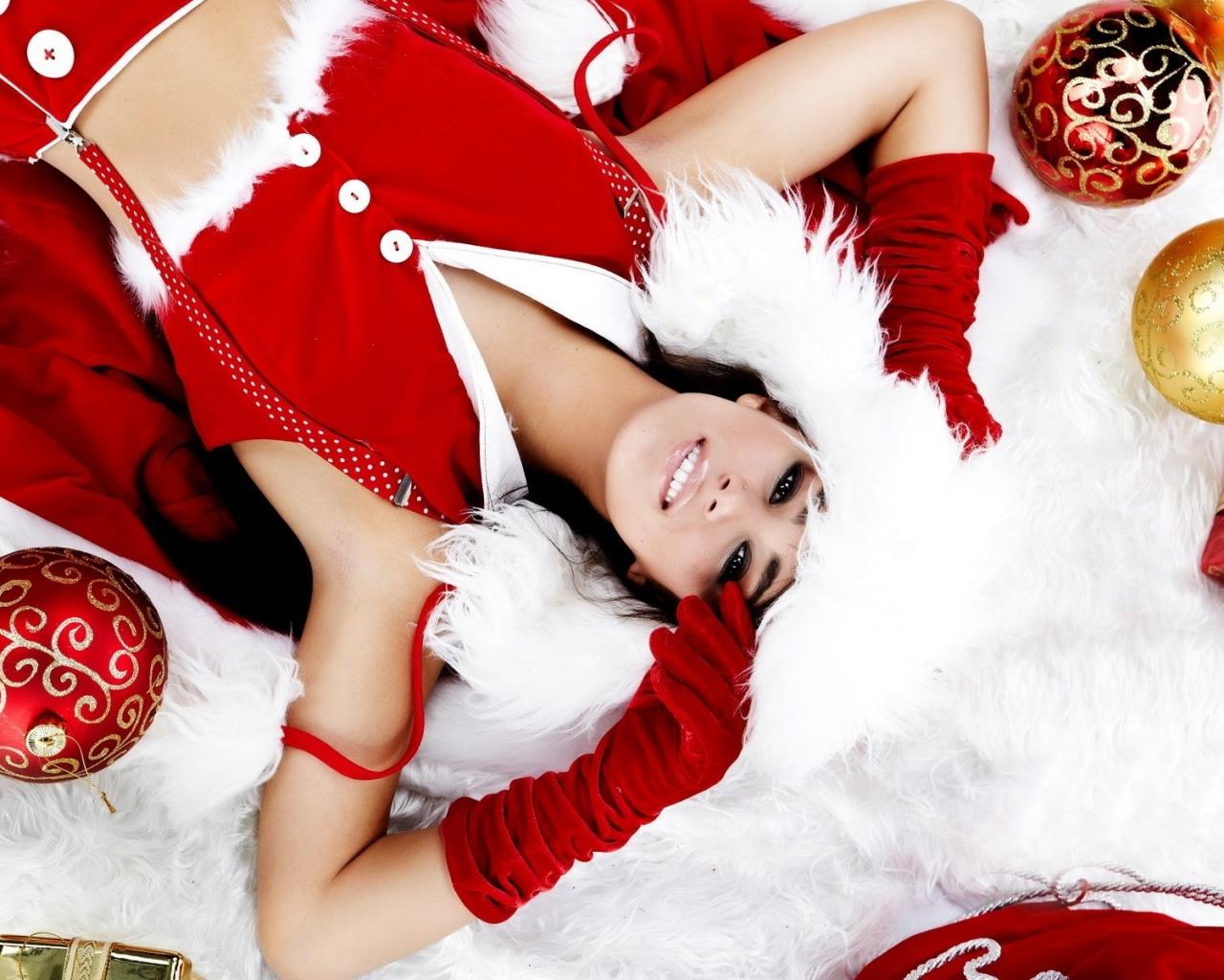 Chicas lindas con regalos para navidad - 1280x1024