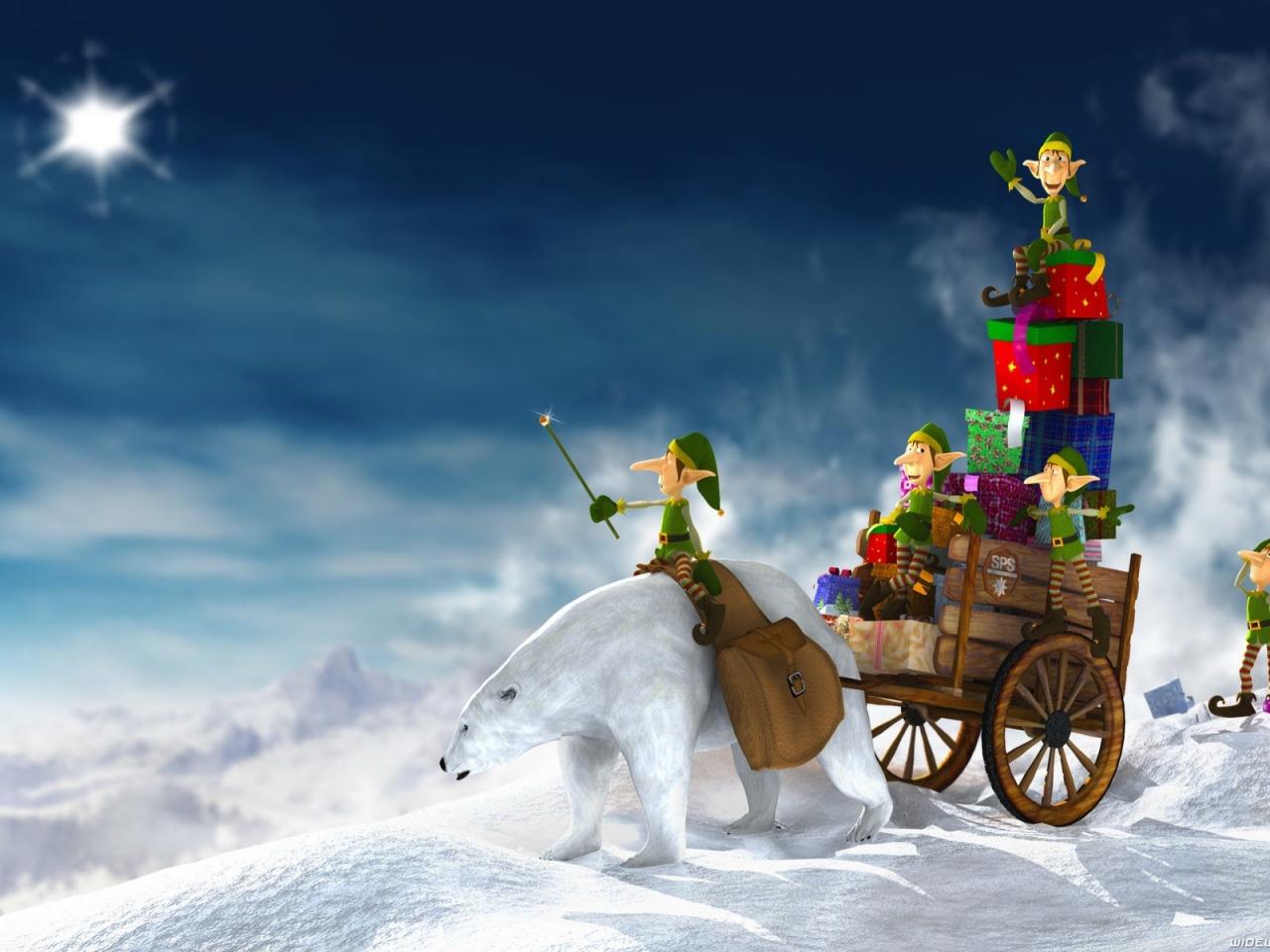 Dibujo de duendes repariendo regalos en navidad - 1280x960