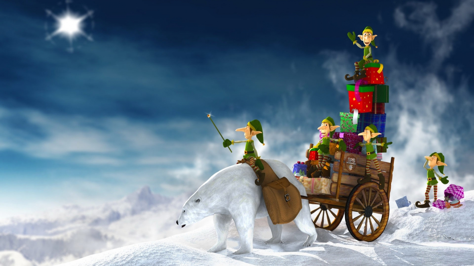 Dibujo de duendes repariendo regalos en navidad - 1600x900