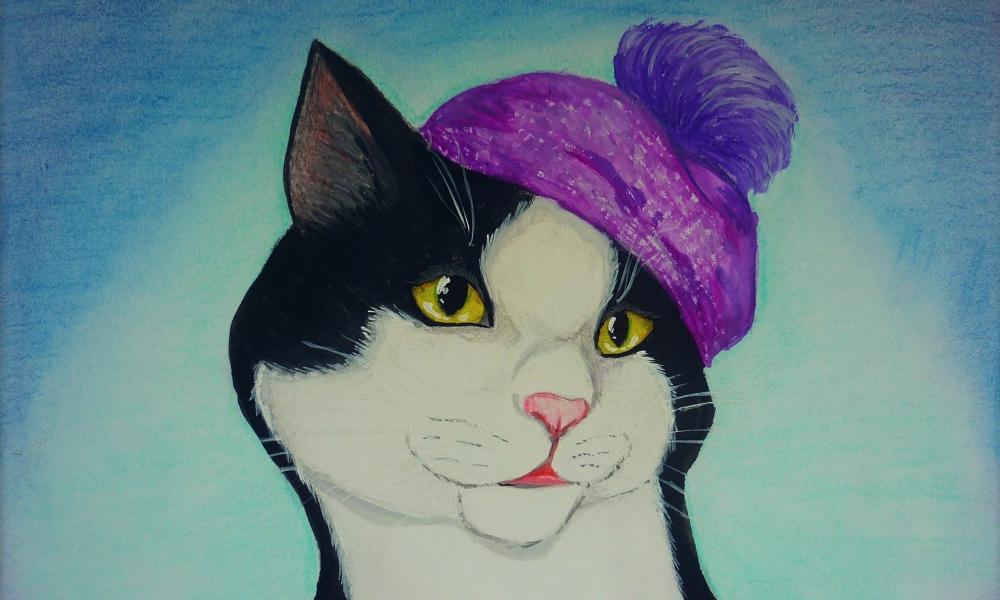 Dibujo y pintura de un gato - 1000x600