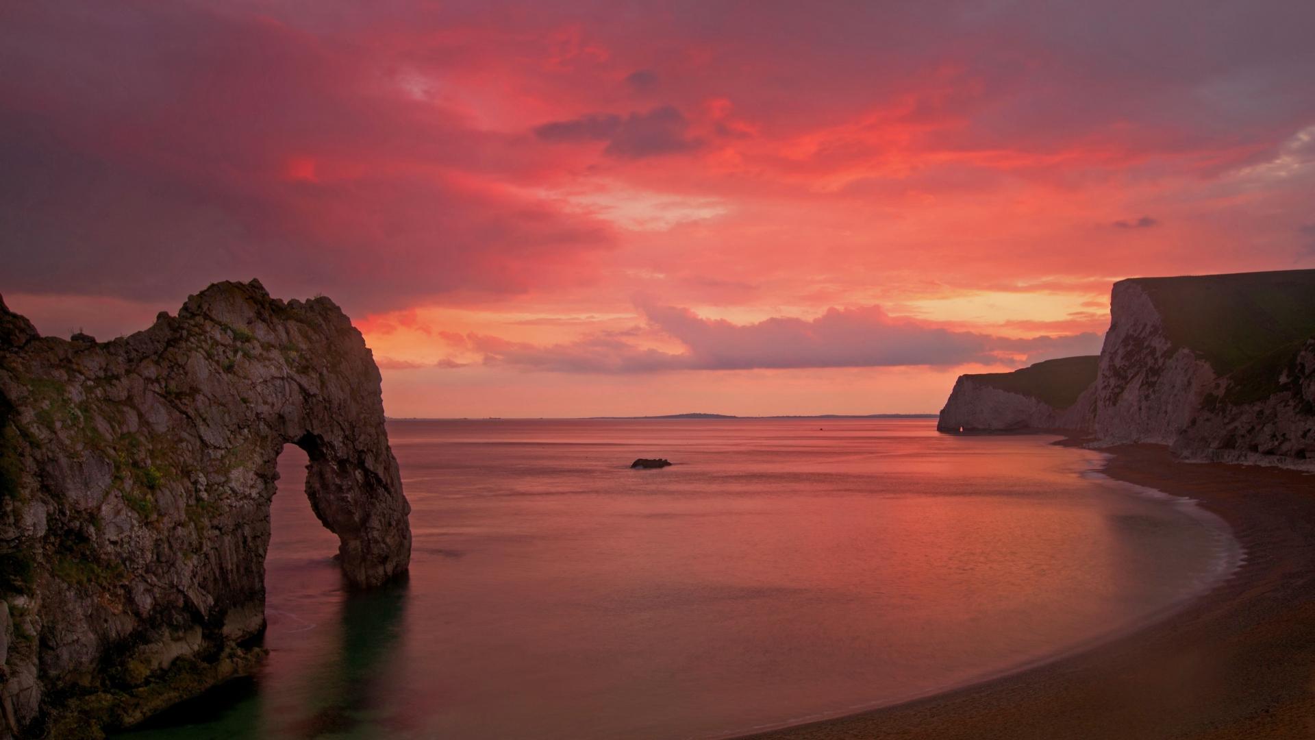 Durdle Dore sunset Dorset - 1920x1080