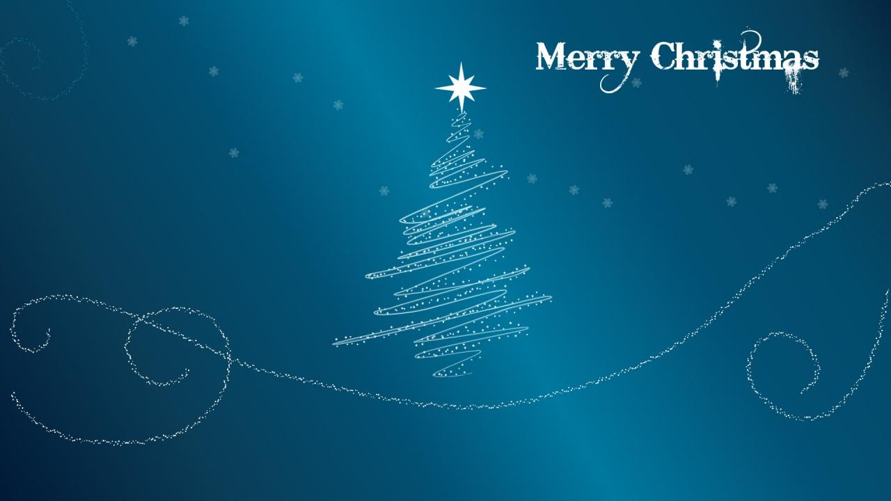 Fondo azul acero con arbol de navidad - 1280x720