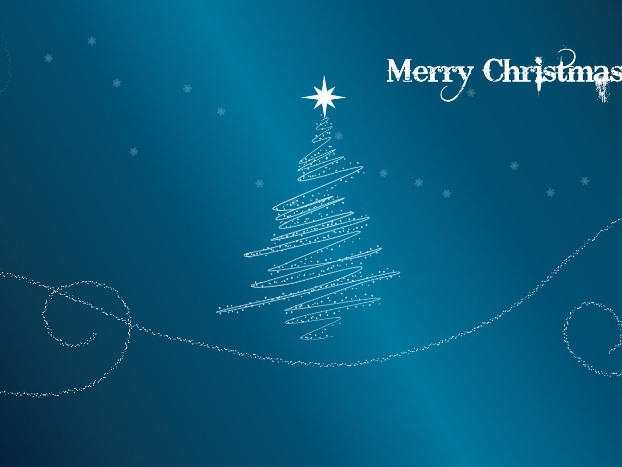 Fondo azul acero con arbol de navidad - 1280x960
