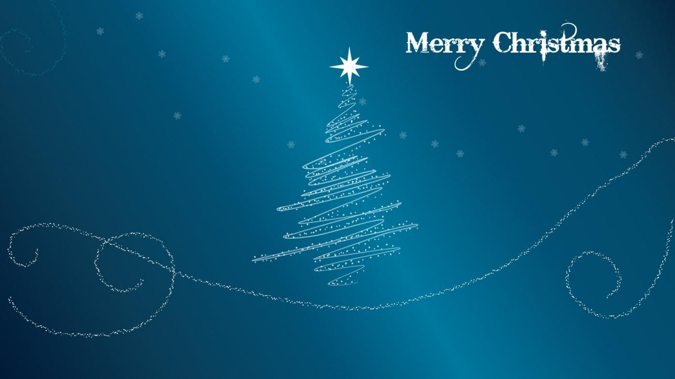 Fondo azul acero con arbol de navidad - 1366x768