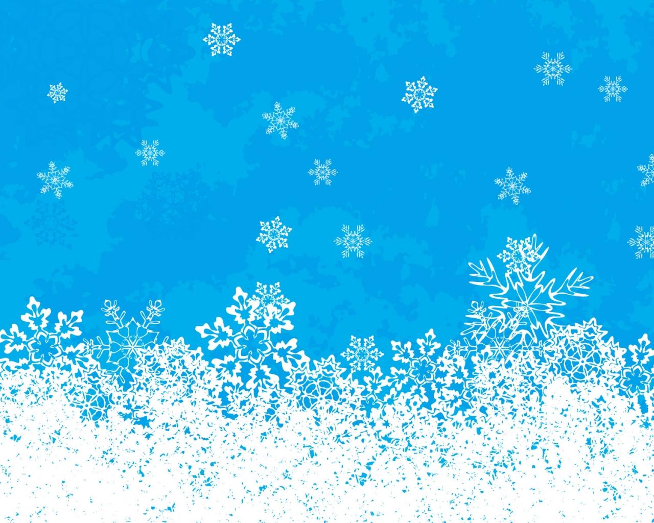 Fondo celeste con nieve en navidad - 1280x1024