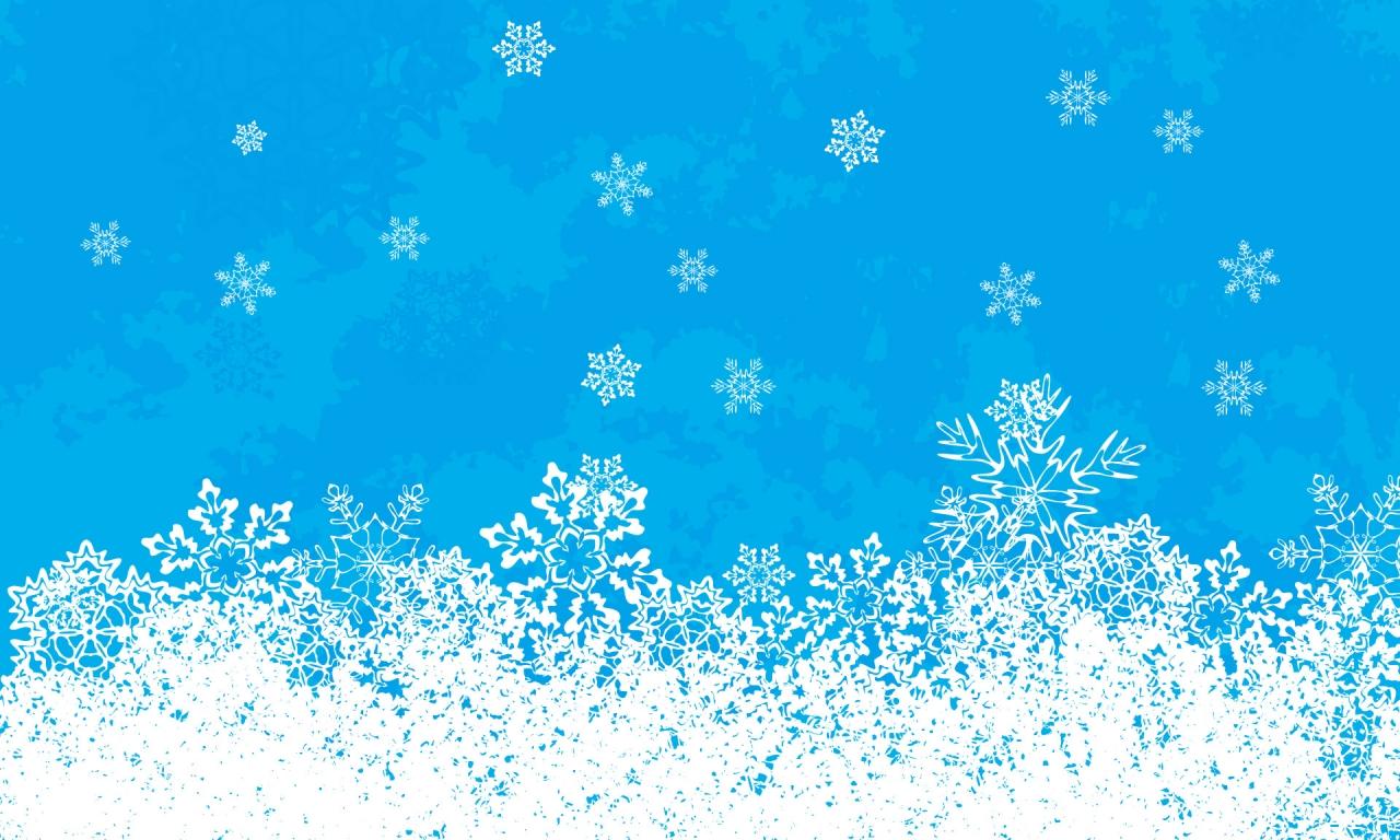 Fondo celeste con nieve en navidad - 1280x768