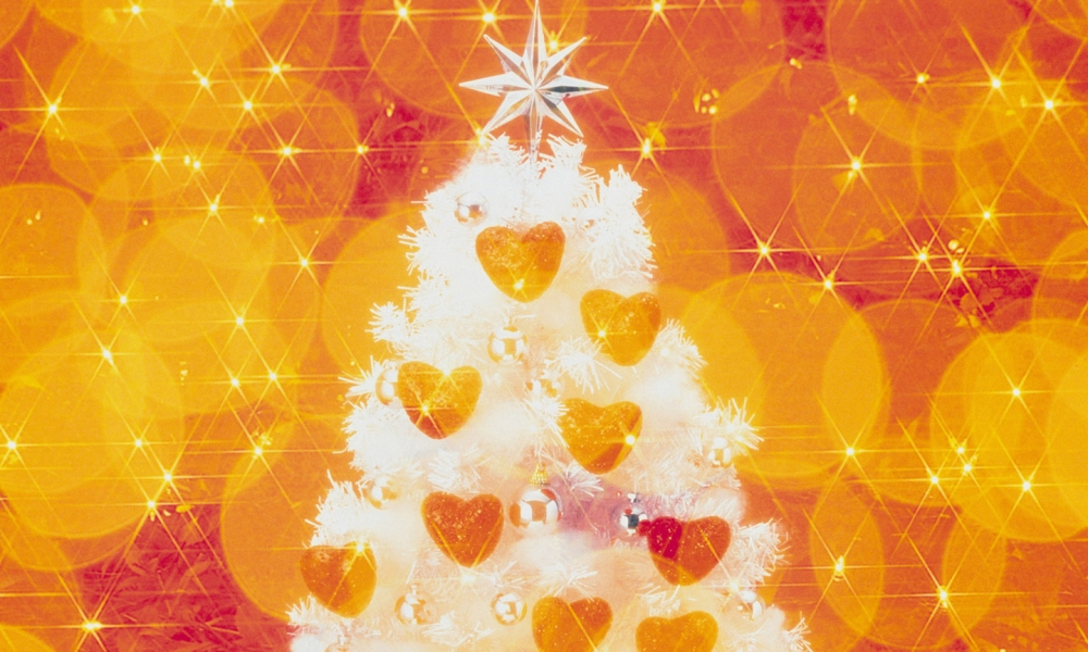 Fondo naranja con arbol de navidad - 1000x600
